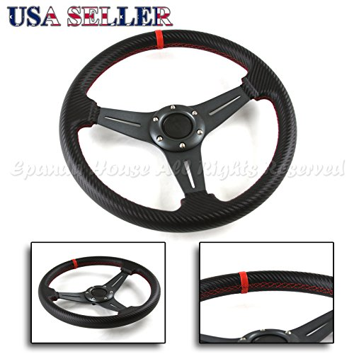 3-Spoke Cf Gunmetal Red Stitched 320mm 6-Hole Aftermarket Track Steering Wheel