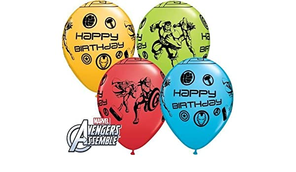 Avengers Assemble cumpleaños feliz 27.9 cm Qualatex globos ...