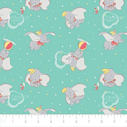 Disney Fabric Dumbo Fabric Toss in Turquoise 100% Premium Quality Cotton Fabric by The Yard
