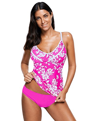 LookbookStore Women's Hot Pink Floral Printed Two Piece Tankini Set Swimsuit Bathing Suit Size (Pink Floral Tankini)