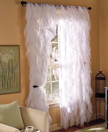 "DiamondHome 2pc Cascade Shabby Chic Sheer Ruffled Curtain Panel (White, 95"" L Panel Pair)"