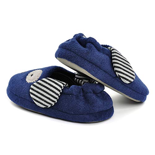 Pictures of Toddler Boys Girls Doggy Slippers Plush Warm Cartoon Puppy Indoor Bedroom Shoes, Navy US 6-7 M 2