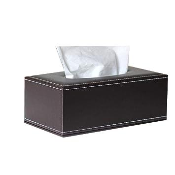 Kleenex - Soporte para pañuelos (piel sintética, dispensador de pañuelos, para casa, oficina, coche), diseño de caja de pañuelos talla única marrón: ...