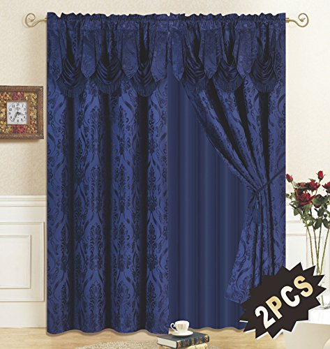 (All American Collection New 4 Piece Drape Set with Attached Valance and Sheer with 2 Tie Backs Included (Navy))