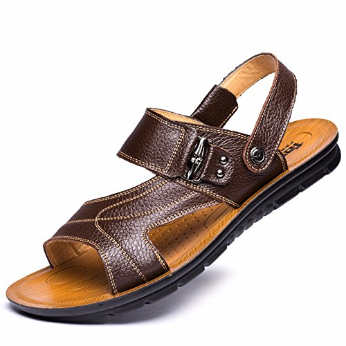 Uomini sandali Uomini estate vera pelle Spiaggia scarpa Tempo libero scarpa Il nuovo pelle Spessore inferiore Antiscivolo sandali Uomini scarpa ,Marrone ,US=8.5,UK=8,EU=42,CN=43