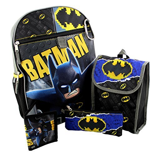 Lego Batman 5 piece Backpack School Set (One Size, -