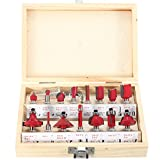 CoCocina 15pcs 1/4 Inch Shank Carbide Router Bit Set Wood Milling Cutter with Wood Case