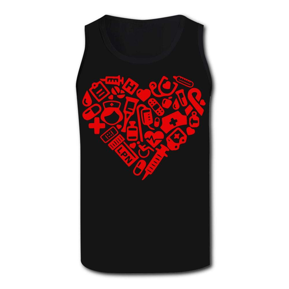 Mens Outdoor Sport The Heart with Nurse Tank Top Vest T-Shirt Fast Drying Tee