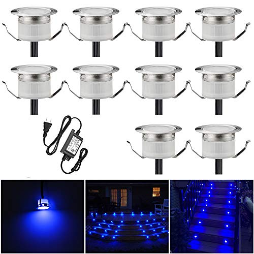 LED Deck Lights Kit, Low Voltage 10 pcs Waterproof IP65 Φ1.22 Recessed Deck Lamp Blue LED In-ground Lighting Outdoor Garden Yard Pathway Patio Step Stairs Landscape Decor Lamps