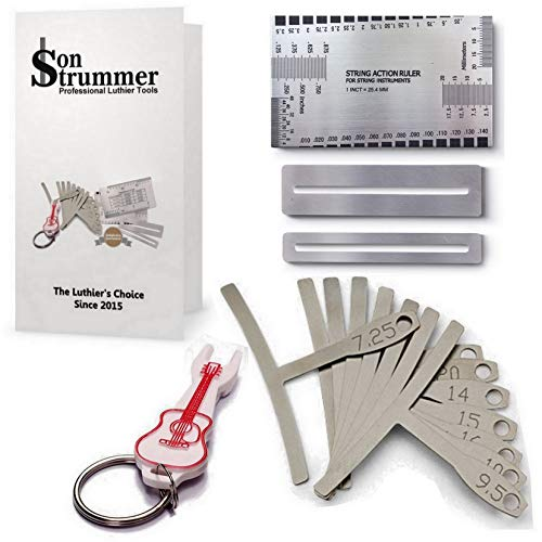 Son Strummer Set of 13 Premium Luthier Tools - Tool kit includes 9 Understring Radius Gauge, 1 Pin Puller, 1 String Action Gauge Ruler, 2 Fingerboard Fret Protector Guards for ()