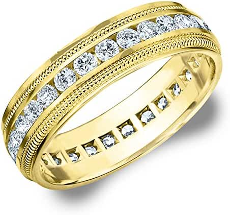 14K Yellow Gold Diamond Milgrain Edge Eternity Wedding Band (1.5 cttw, H-I Color, I1-I2 Clarity)