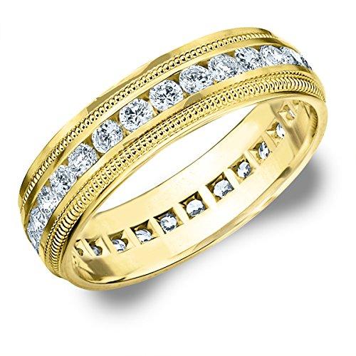 14K Yellow Gold Diamond Milgrain Edge Eternity Wedding Band (1.5 cttw, H-I Color, I1-I2 Clarity) Size 10.5 14k Yellow Gold Milgrain Edge