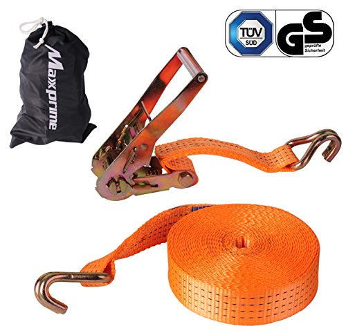 """Premium Ratchet Tie Down, Maxxprime 33' x 2"""" 10, 000 lbs Rated Capacity Tie-Down Ratcheting Cargo Truck Straps with Double J-Hooks - German Quality by MAXXPRIME"""