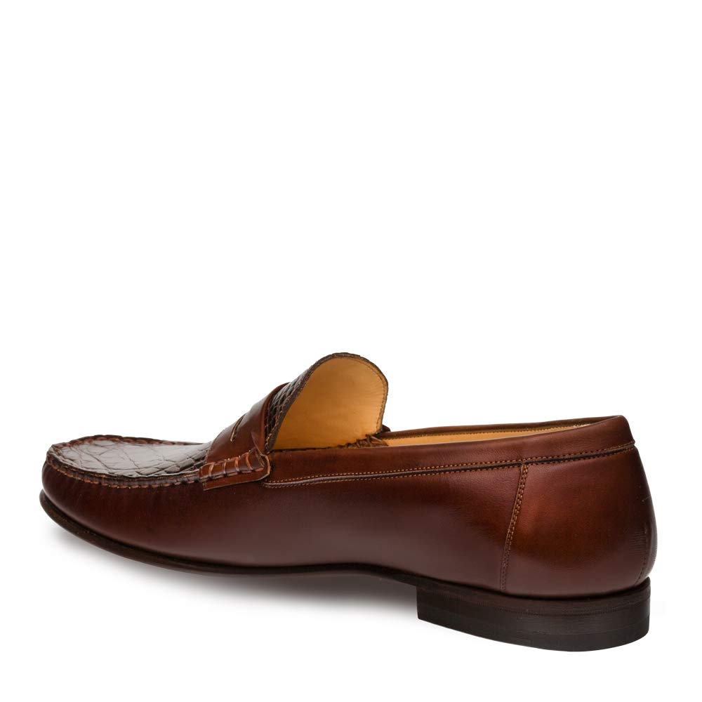 Mezlan SICA Mens Luxury Formal Loafers - Calfskin & Crocodile Slip-On Loafer with Leather Sole - Handcrafted in Spain - Medium Width (10.5, Brown) by Mezlan (Image #2)