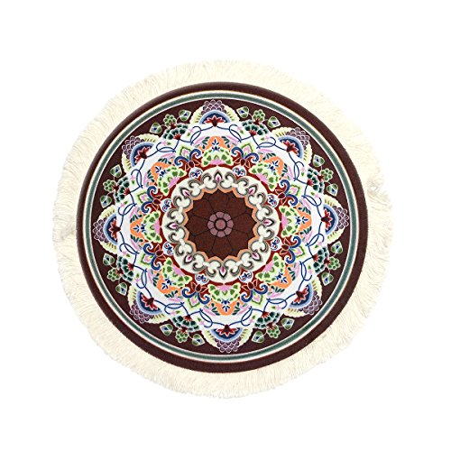 Round Rug Mouse Pad Oriental Persian Floral Mouse Mat Coaster Purple Blue Orange Red -