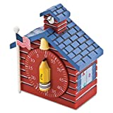 Shaped Timer, 3/4 x 2 x 3 1/2, Red School House, Sold as 1 Each