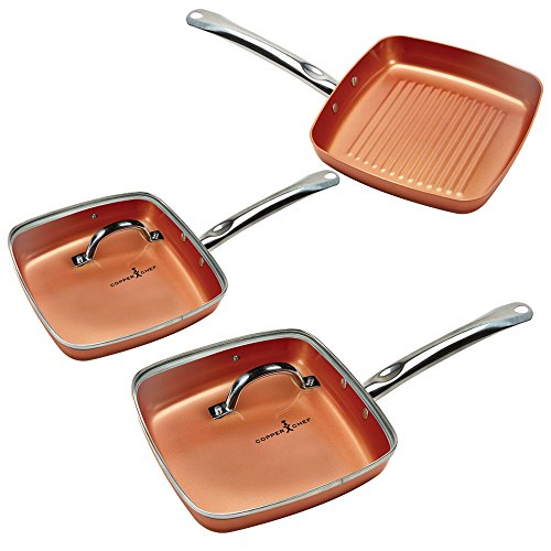 (Copper Chef Square Fry Pan 5 Pc set)