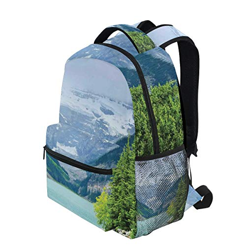 KVMV Landscape of Lake Louise Mountains with Snows Alpine Trees Alberta Canada Lightweight School Backpack Students College Bag Travel Hiking Camping Bags