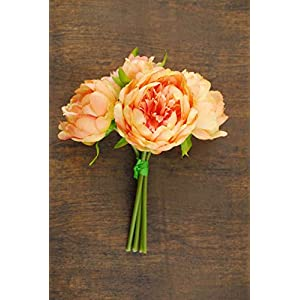 Wayhome Fair Coral Orange Peony Bouquet - Excellent Home Decor - Indoor & Outdoor 23