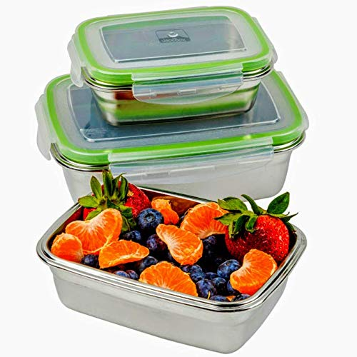 JaceBox Stainless Steel Food Container - Food Preservation Lunch Box Leak Proof! Light and Easy Storage .Set of 3! Bento Box ready Eco-Friendly Keto Lifestyle! BPA FREE by ()