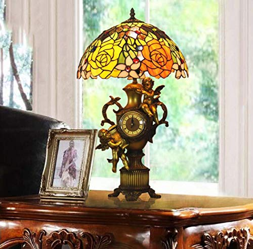 Table Angels Lamp Tiffany (Tiffany Style Table Lamp, Hand-welded Rose Design Glass Desk Lamp With Angel Clock, Living Room Coffee Shop Bedroom Bedside Retro Table Lights)