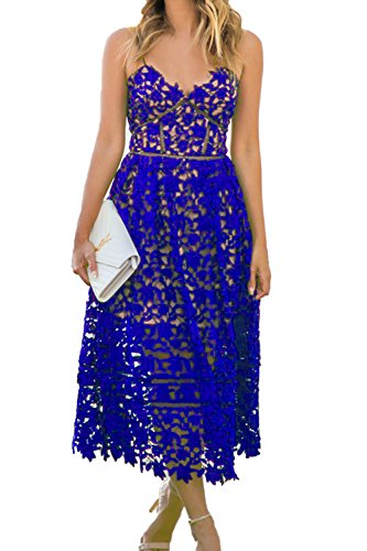 AlvaQ Womens Summer Sexy V Neck Lace Hollow Beach Evening Wedding Midi Dress Formal Blue,Small