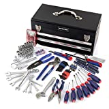 WORKPRO 239-Piece Tool Set - General Household Tool Kit with 2 Drawers Metal Box - Durable, Long Lasting Chrome Finish Tools - Perfect for DIY, Auto, Home Maintenance - Premium Tool Box Set