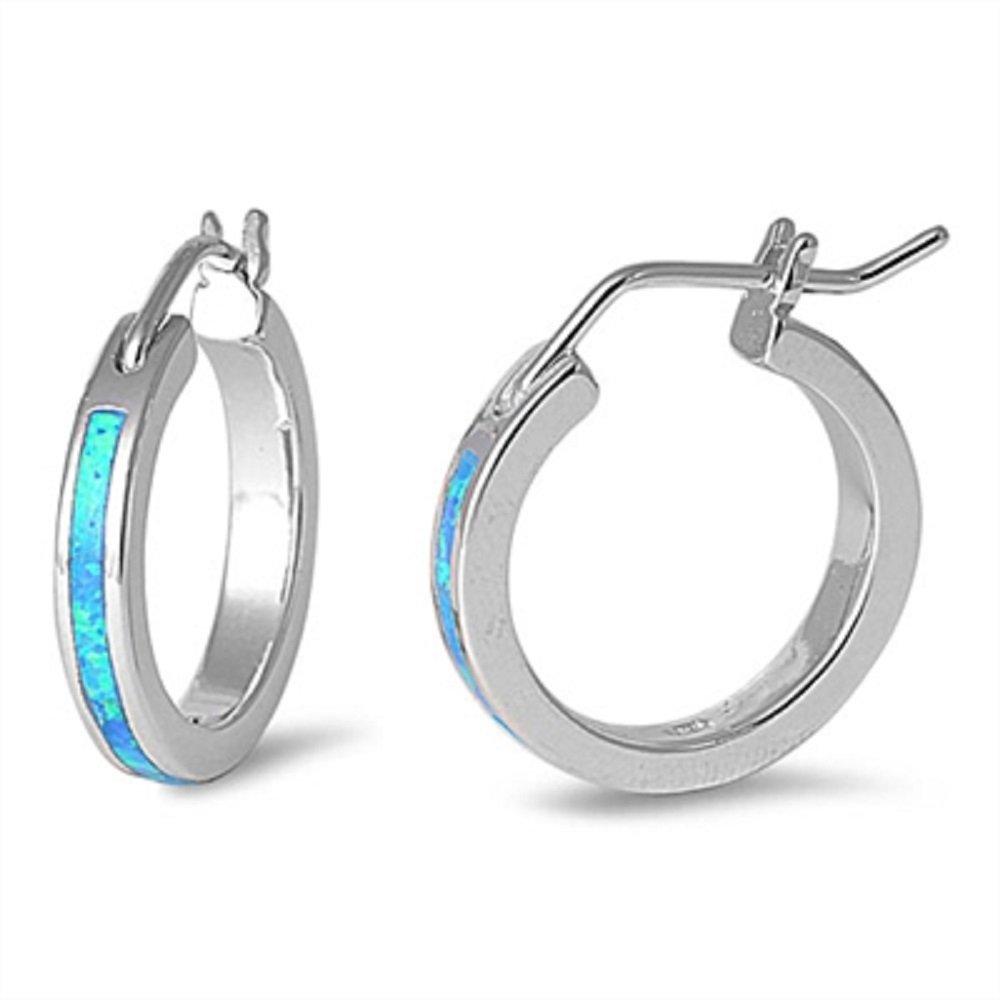 Blue Simulated Opal Hoop Design Earrings 925 Sterling Silver