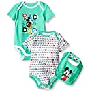 Disney Baby Mickey Mouse 2 Pack Bodysuit with Bib, Multi/Green, 0/3 Months