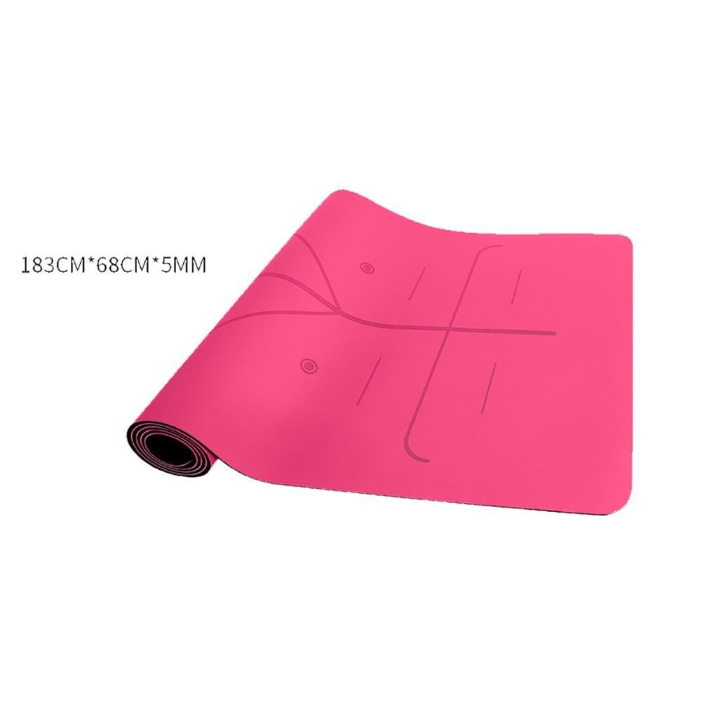 Lmzyan Natürliche Gummi Yoga Mat, Indoor Profi Level 5mm Männer und Frauen Body Line Fitness Sport Anti-Rutsch Yoga Mat