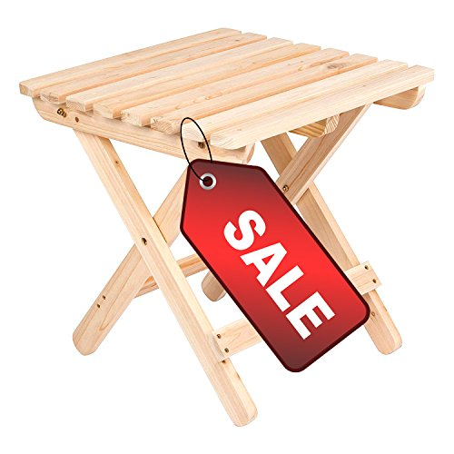 Small Patio Side Table Folding Square End Natural Wooden Water Weather Rust UV Resistant Stylish Outdoor & Indoor Furniture & eBook by Easy&FunDeals