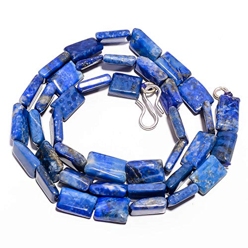 Rectangle Bead Necklace - Unique Beads Natural Lapis Lazuli Gemstone Flat Rectangle Beads Necklace 9-12 mm 17