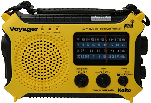 Kaito-KA500-5-way-Powered-Solar-PowerDynamo-Crank-Wind-Up-Emergency-AMFMSWNOAA-Weather-Alert-Radio-with-FlashlightReading-Lamp-and-Cellphone-Charger-Yellow