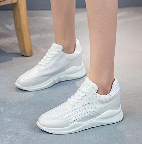 Slip Color Pure Casual 34 Comfortable 40 Running Pump Breathable Anti Shoelace Women Mesh Size Shoes Sport Shoes Net Eu Shoes White Yarn Fitness Snakers 4xp08wq7