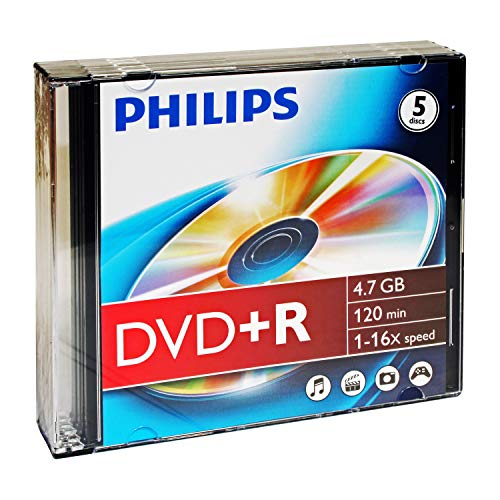 Philips 4.7GB DVD+R SLIM CASE 5PK (DR4S6S05F/17) from Philips