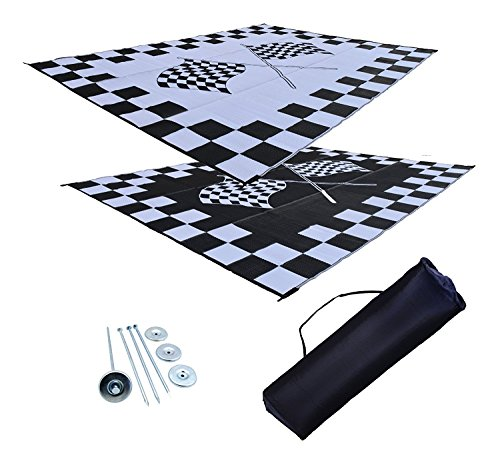 Reversible Patio Mat Racing - RV Patio Mat Awning Mat Outdoor Rug Trailer Mat Complete Kit 9x12 (Finish Line Flags)