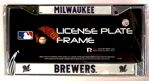 Milwaukee Brewers New Design Chrome Frame Metal License Plate Tag Cover Baseball