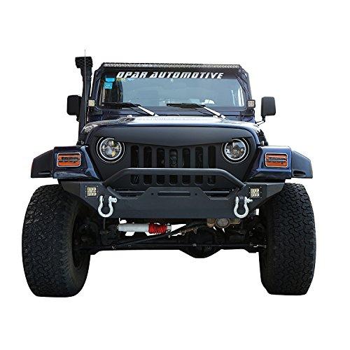Opar Jeep TJ Front Bumper w/ Winch Plate & 2x 18W LED Lights for 1987-2006 Jeep Wrangler YJ,TJ