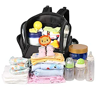 Diaper Bag Backpack, Mancro Large Baby Diaper Bag, Multifunction Travel Water Resistant Baby Bag for Dad Mom with Insulated Pockets, Changing Pad, Stroller Straps, Nappy Bag Newborn Gifts, Black