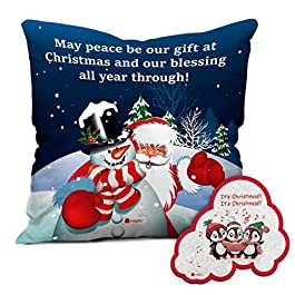 Indigifts Christmas Printed Micro Satin, Fiber 12×12 inches Cushion Cover with Filler-Blue