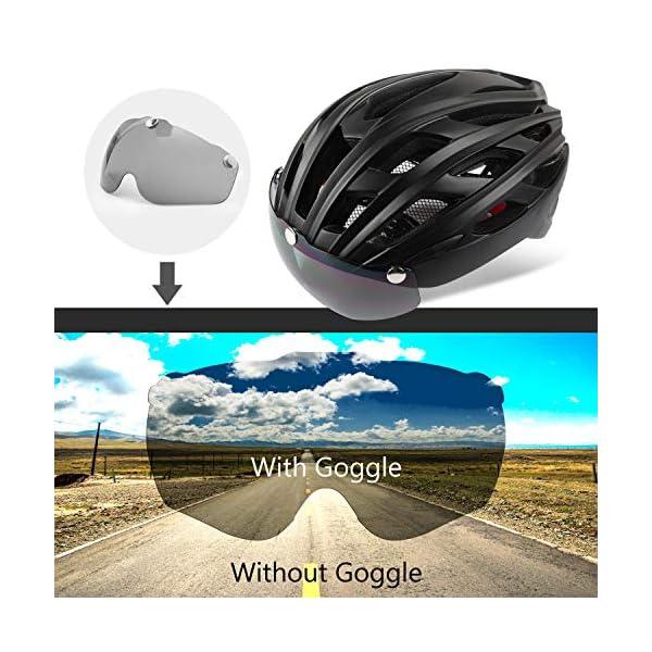 Shinmax Casco Bici con Luce di LED,Certificato CE, Casco con Visiera Magnetica Staccabile Shield Casco da Bici Leggero… 5 spesavip