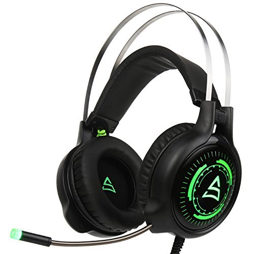 Supsoo G815 Computer Gaming Headset Headphones with Mic Volume Control LED Light for PC MAC Laptop ()
