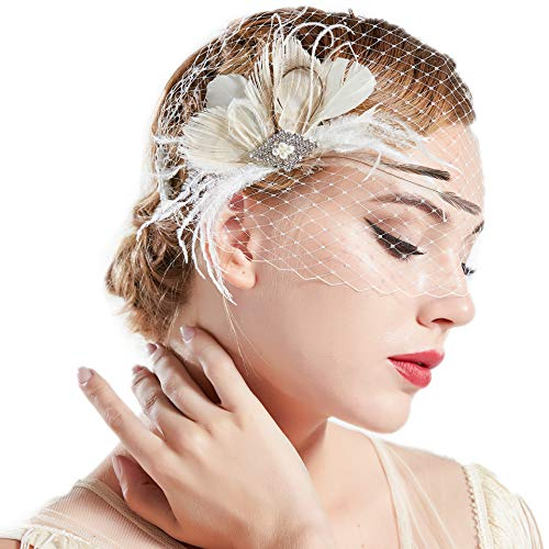 BABEYOND Bridal Wedding Fascinator Mesh Feather Fascinator Hair Clip Hair Fascinator Veil Crystal Wedding Veil - Veils Birdcage Bridal
