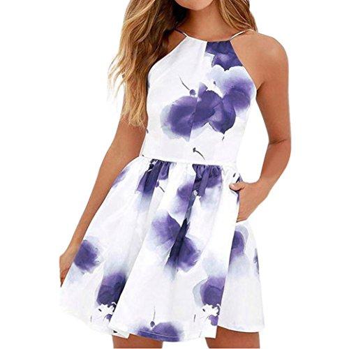 Price comparison product image Conina Dress for Women,  Fashion Spaghetti Strap Floral Print Beach Style Skater A Line Mini Dress (Blue,  S)