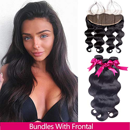 Brazilian Hair Body Wave 3 Bundles With Closure Virgin Human Hair Weave With Lace Closure Free Part Natural Black (16/18/20+16 Inch, Bundles With Frontal)