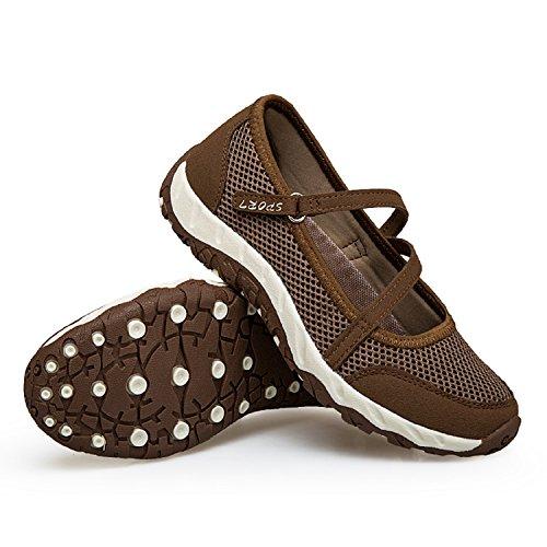 Para Zapatillas Cómodos Transpirable Velcro Con Calzado Malla Caminar Ligero Deportivo De Casuales mastery Verano Zapatos Mujer Marrón H qwYvpXxUv