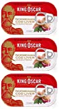 King Oscar Cod Liver Canned 121g can From Norway pack of 3