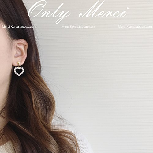 TKHNE ! Dongdaemun imported earrings sweet and lovely pearl velvet heart-shaped medallion necklace pendant Earrings ()