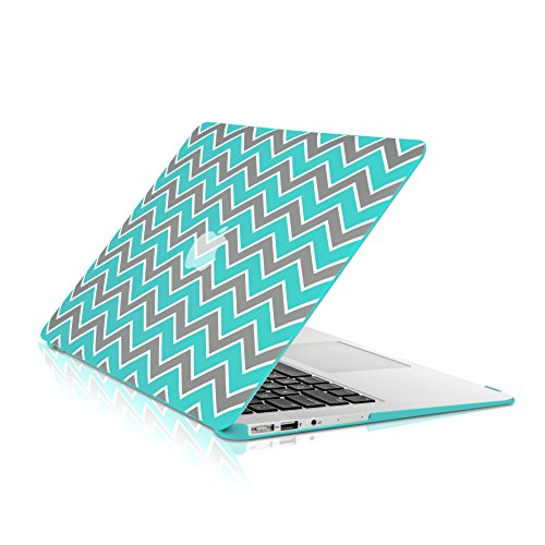 TopCase Chevron Series Gray Insert Hot Blue/Turquoise Ultra Slim Light Weight Rubberized Hard Case Cover for MacBook Air 13