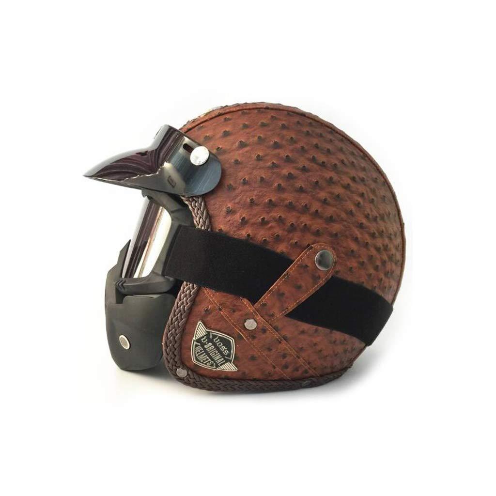 ヘルメット オートバイのヘルメット、レトロオートサイクルヘルメット男性女性オールラウンドサイクリング安全キャップペダルオートバイ電気自動車付きマスク F f L l